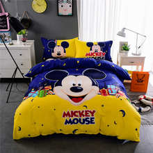 Yellow Blue Mickey Mouse Print Bedding Set Quilt/Duvet Cover Bedspreads Children Baby Bed Twin Full Queen King Size Cotton 3-5pc(China)