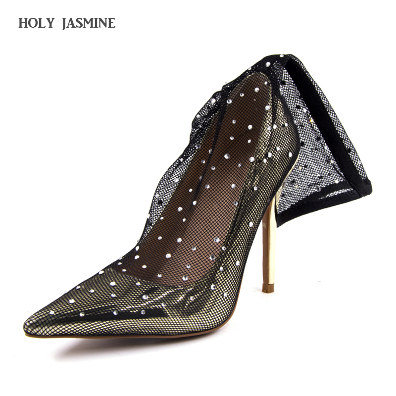 Womens Shoes beaded flowers high heels shallow Pointed Toe lace ladies sandals net cloth elegant womens pumps wedding shoes<br>