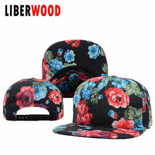 [LIBERWOOD] Unisex Floral Blank Snapbacks Hop-hop Hats cap NEW Quality Fashion Brand hat cap flowers Along Visor hip hop gorras
