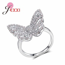 JEXXI Light Pink Crystal Exquisite Butterfly Ring Sliver for Women S925 Sterling Silver Finger Rings Christmas Gift For GF(China)