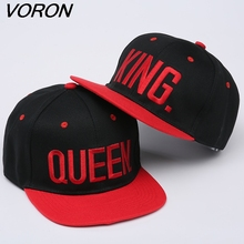 KING QUEEN Embroidery black white red gray Snapback  Men Women Couple Baseball Cap Lovers Cap Hip Hop Sport Hats 2 pieces