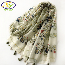 Women Tassels Long Scarf 2017 New Arrival Flower Cotton Shawls Woman New Autumn Viscose Voile Pashminas XY-84(China)