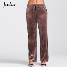 Jielur 2017 Winter S-XL Warm Velvet Pants Europe New Fashion Leisure Trousers for Women Solid Color Pocket Casual Pantalon Femme(China)