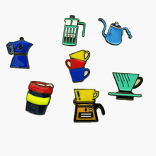 Free shipping Cartoon Cute Coffee Hand Rush Aeropress Cup Metal Brooch Pins Button Pins Jeans Bag Decoration Brooches Gift Whole