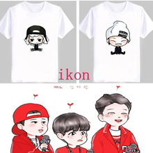 Men summer woman cute kpop ikon comic cartoon printing images k-pop bobby bi plus size cotton T-shirt