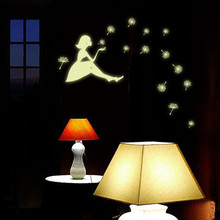 Dandelion Girl Luminous Cartoon Kids Wall Sticker Home Deco wall stickers home decor bed room glow in the dark Wall Stickers(China)
