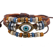 Evil Eye Leather Bracelet Colorful Enamel Charm Gold Stainless Steel Chain Cuff Bangles Friendship Wristband Women Men Jewelry(China)