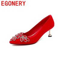 EGONERY Romantic elegant rhinestone bride shoes pumps for woman graceful curve design high heels sexy pointed toe wedding shoes(China)