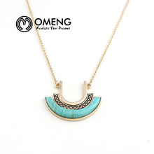 OMENG Arc-shaped Turquoise Pendant Necklace Gold Plated Chain New Arrival  Bohemia Personality Summer Style Women Jewelry OXL006