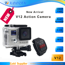 WIFI Action Camera V12 Dual screens FHD 1080P 2.4G Watch Remote Control Waterproof Camcorder