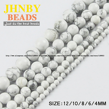 JHNBY Howlite white pine beads Natural Stone Top quality Round Loose beads ball 4/6/8/10/12MM Jewelry bracelet Making DIY