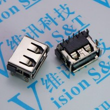 10 PCS Connector 2.0 AF 10.0 4 Foot Volume Edge A Mother Short Body Harpoon Foot USB 90 Degree Female Seat Black