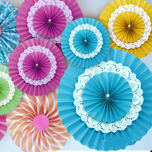 10pc Paper Fan Rosettes Set Backdrop Paper Pinwheel Star Party Fans Paper for Wedding Birthday Decor Three DIY Paper Lace Fan(China)