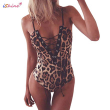 iShine 2017 New Leopard Deep V Sexy Lingerie Cross Bandage Hollow Out hot erotic Club Party lenceria babydoll costumes(China)