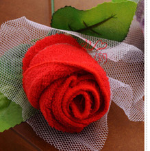 Hot sale 4 colors cake towel wedding gifts rose towel beautiful & great Valentine Gift for lover free shipping(China)