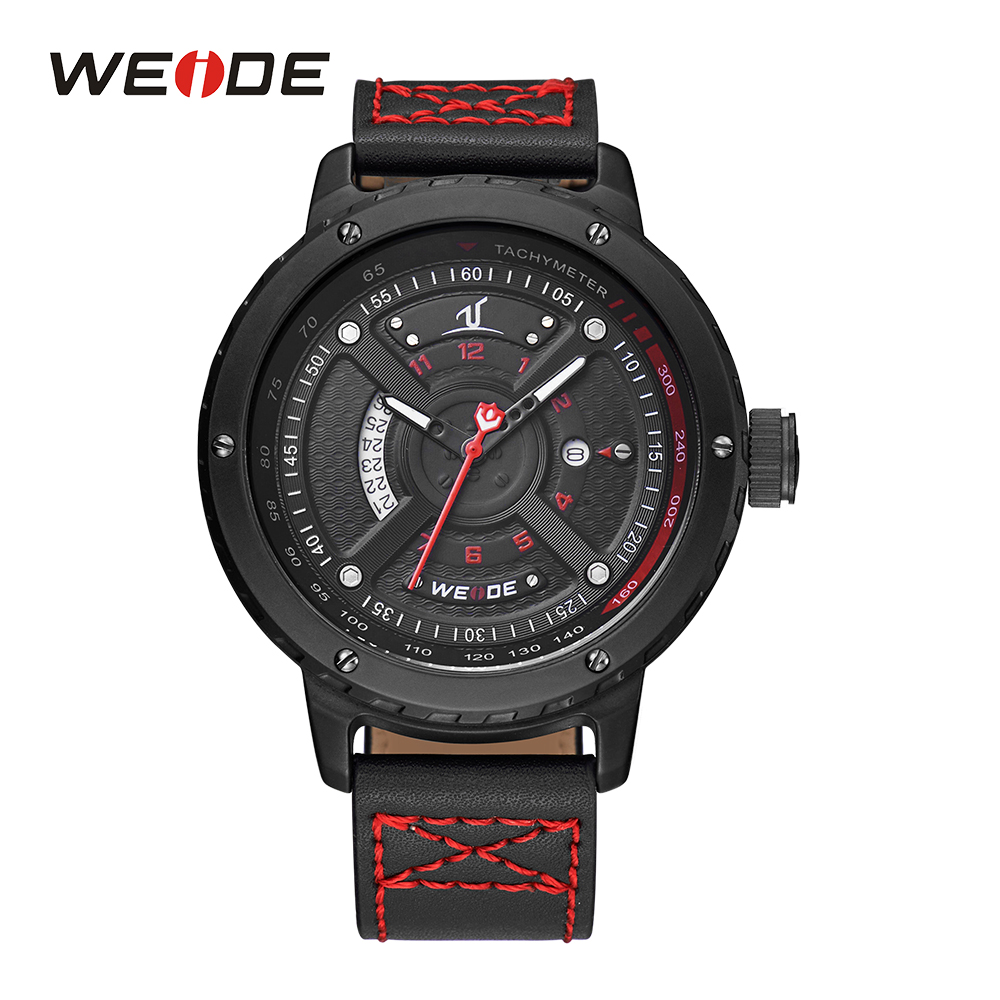 WEIDE Mens Quartz Movement Watches Calendar Dual Date Analog Display Leather Strap Water Resistant Band Buckle Sport Wristwatch<br>