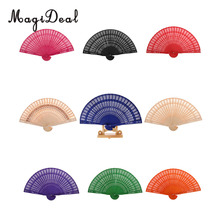 Magideal Chinese Vintage Wood Hollow Carved Hand Fan Foldable Fan Wedding Bridal Party Favors Gifts Home Decor Pocket Fan