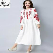 Plus size 2017 Autumn clothing new embroidery casual vestidos dress Fat MM Loose ladies women cotton linen comfortable dresses(China)