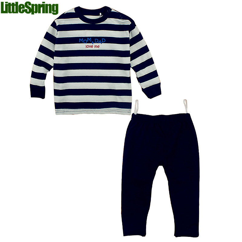 LittleSpring Mom Dad Love Me 2016 new children clothing sets long sleeve striped sport suit kids clothes clothing set<br><br>Aliexpress