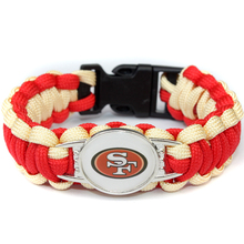 2017 Hot New NFL Football Fans San Francisco 49ers Charm Paracord Survival Bracelet Friendship Outdoor Camping Bracelet 6pcs/lot