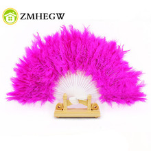 Nice Feather Fan For Dance Props Hand Goose Feather Folding Fan Wedding Pink Hot Pink White Purple Black Blue Yellow Red gifts(China)