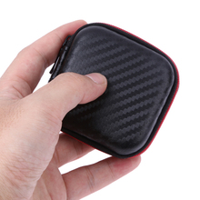 Square Mini Earphone Storage Case EVA Memory Cards MP3 USB Cables Headset Bluetooth Earphone Cable Organizer Box Zipper Coin Bag