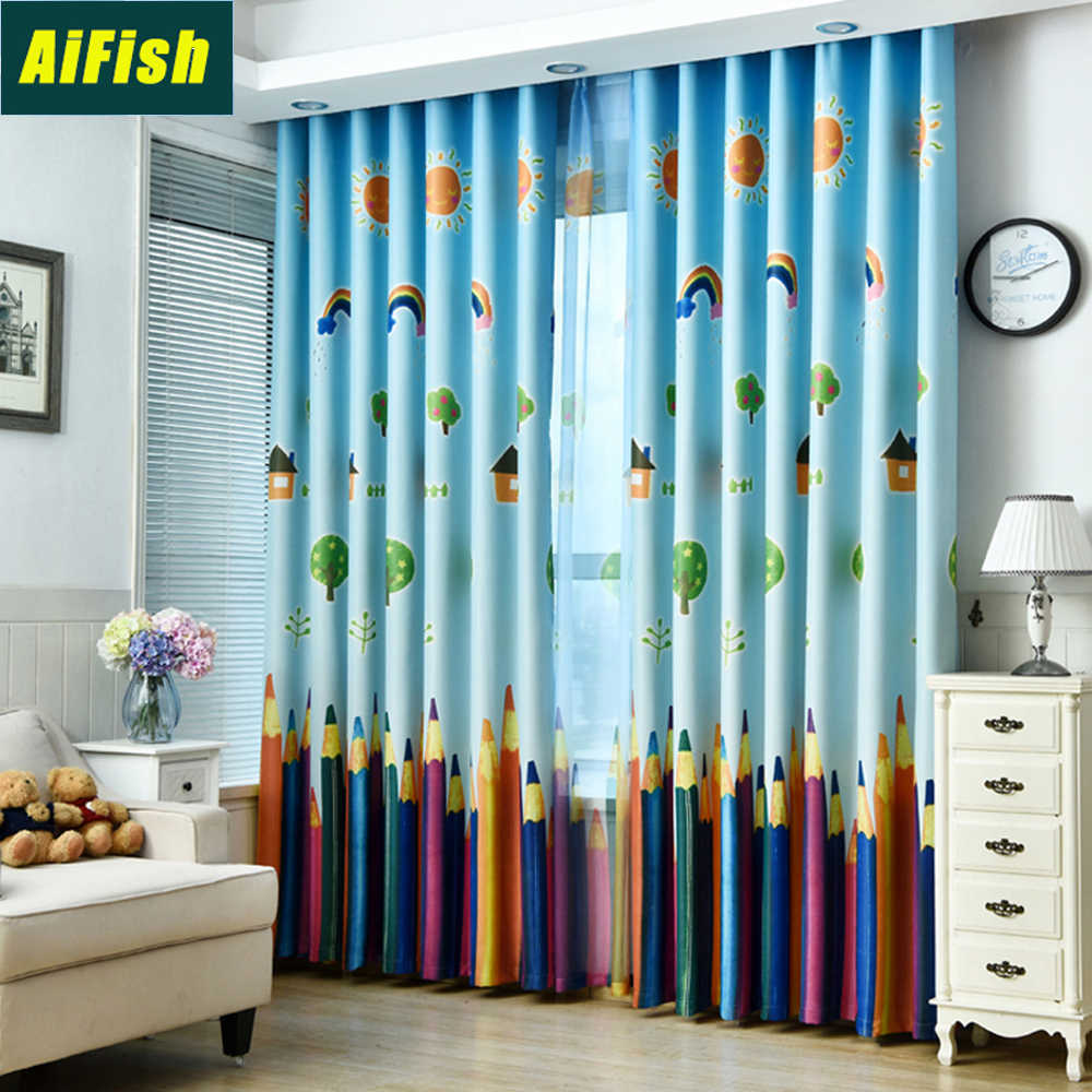 Colorful Pencil Printed High Shading Insulated Blackout Curtains for Girls Bedroom Customized Blue Sheer Curtain Tulle WP1783