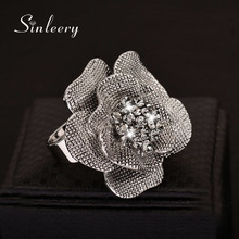 SINLEERY 10pc/lot Vintage Big Black Genuine Cubic Zircon Flower Finger Rings Adjustable Size Antique Silver Color Jewelry  Jz387