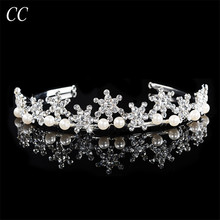 Romantic Snowflake Tiaras Accessories Top Austrian Crystal & Simulated Pearl Crowns for Women Hair Jewelry Bijoux Fashion F043(China)