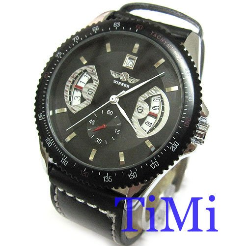 Black Deluxe Army Military Auto Mechanical Mens Watch<br><br>Aliexpress