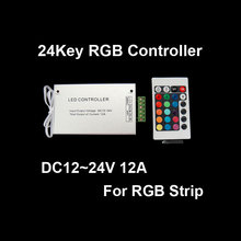 Wholesale DC12-24V 12A 24Key IR LED RGB Remote Controller For SMD 5050 3528 Strip(China)