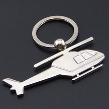 2015 Creative helicopter keychain metal key chain stainless steel key ring aircraft modeling novelty jewelry free shopping