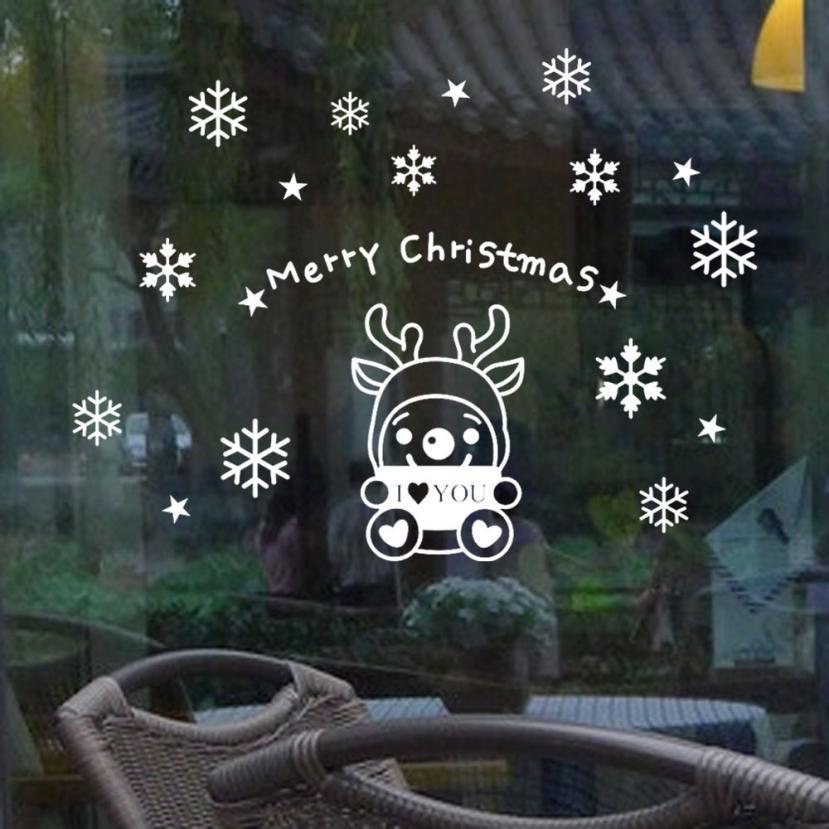Großhandel Abnehmbare Tapete Elch Snowflake Weihnachten Xmas Vinyl ...