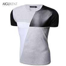 M-XXL PU Leather T Shirt Men High Quality Splice short Sleeve T-Shirt Fashion Cotton Casual O-Neck hip hop Mens Tops Tee T103