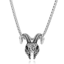 Pentagram Goat Head Pendant Amulet Sabbatic Occult Red Eye Goat Necklace Retro Silver Pagan Magical Ritual Jewelry MB(China)