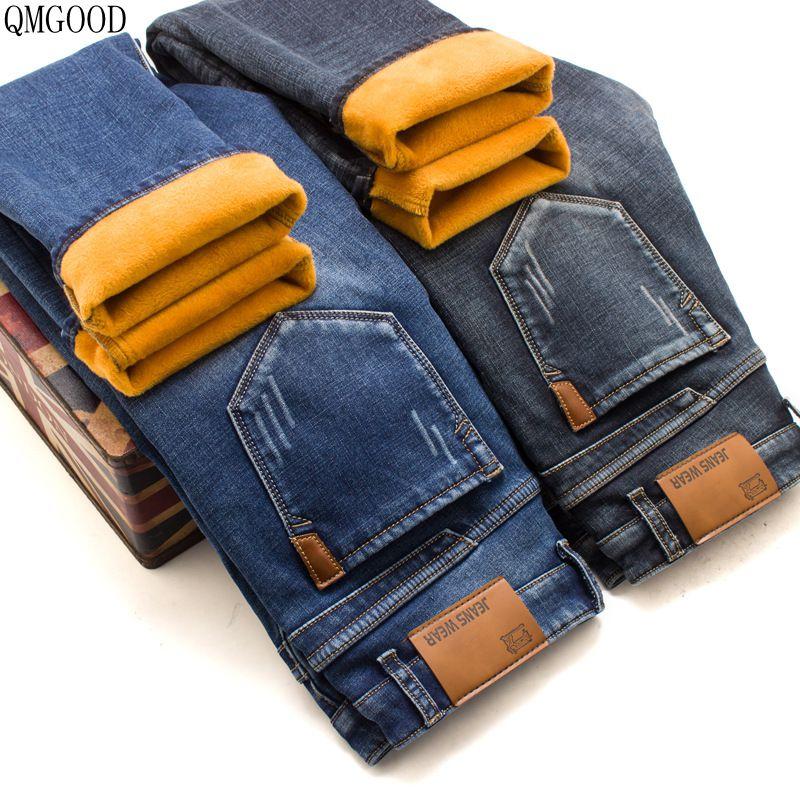 QMGOOD Winter New Plus Cashmere Warm High Elastic Mens Straight Fashion Casual Jeans Mens Thickened Jeans Trousers Size 28-42Îäåæäà è àêñåññóàðû<br><br>