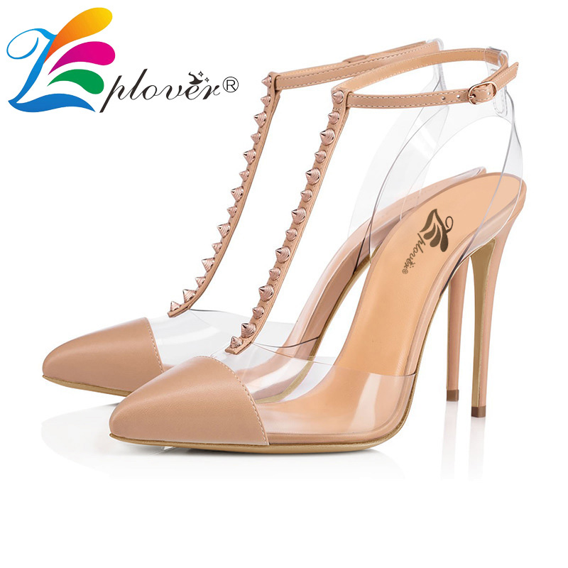 Zplover Women Sandals 2018 New Rivet Black High Heel Sandals Party Women Shoes Buckle Sexy Ladies Shoes Sapato Feminino<br>
