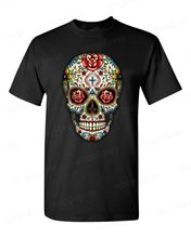 T Shirt High Quality Tees Short Sleeve Men Casual Crew Neck Sugar Skull Roses Eyes Day Of The Dead Mexican Gothic Los Muertos