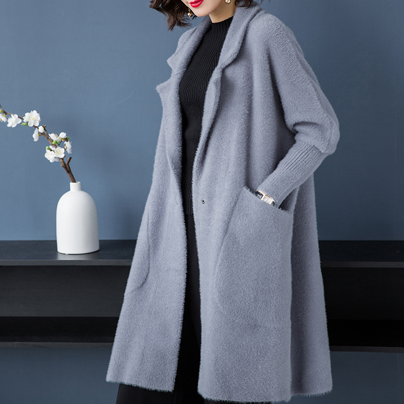 Brand Coat Fall Winter Women Coat New OL Office Lady Lapel Solid Coat Thicken Warm Loose Wild Pockets Outerware Long Coat Female