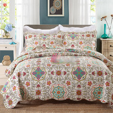 Home textile 3pcs flower bedding cover set red blue cotton 230*250cm quilt bedspread European and American style outlet bedding