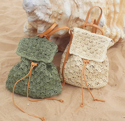 2017 Summer Women Straw Backpack Beach Bag Hollow Out Lady Drawstring Backpack Knitted Handmade Crocheted Woven Bag Travel Bag<br><br>Aliexpress