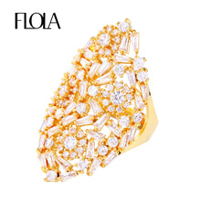 FLOLA Top Quality Full-Zircon Big Hollow Flower Ring Exaggerate Openwork CZ Stone Luxury Ring Valentine Present Jewelry rigf16(China)