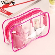 Velishy Hot 3 Colors Transparent Clear Cosmetic Bag Portable Plastic PVC Travel Makeup Bag Toiletry Zip Pouch