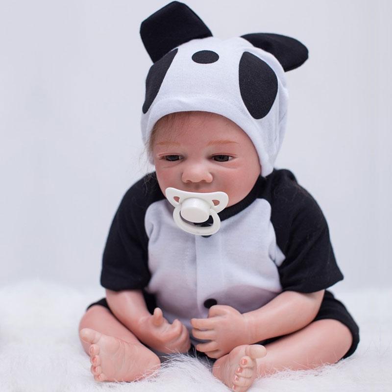16inch Cut Panda Silicone Reborn Doll Toys 45cm Lifelike Baby Doll Toys Realista Newborn Boneca Brinquedos For Birthday Gifts<br><br>Aliexpress