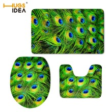 HUGSIDEA 3D Unique Peacock Feather Printed 3PCS Set Bathroom Washable Floor Carpets Home Hotel Decor Non-slip Mats for WC Toilet