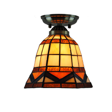 Modern Retro Tiffany Mini Hexagon Hanging Light Vintage Stained Glass Shade Ceiling Lamp For Corridor Balcony Porch Fixture C275
