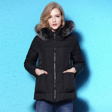 2017 Winter new fashioned big hair collar down jacket woman short slim black down coat