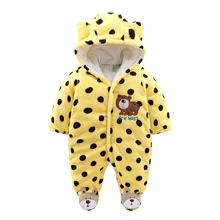 Newborn Baby Rompers 2017 Winter Warm Girls Clothing Coral Fleece Boy Clothes Cartoon Bear Hooded Down Snowsuit Infant Jumpsuits(China)