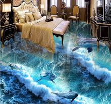 3d floor murals custom photo wall mural 3d floor Dolphin Ocean vinyl bathroom wallpaper 3d floor wallpaper(China)