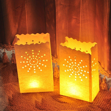 Lantern 10PCS Wedding Heart Tea Light Holder Luminaria Paper Lantern Candle Bag Home Valentines Day Gifts Party Decoration